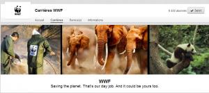 Bannière du WWF sur LinkedIn. Marque Employeur en action en vue de recruter